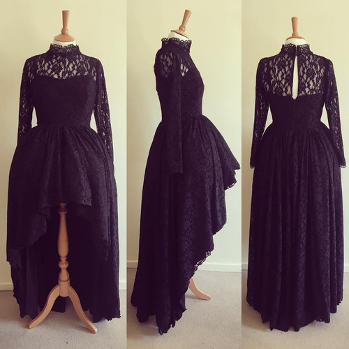 Hi low full skirt in black lace with sleeved and collar detail