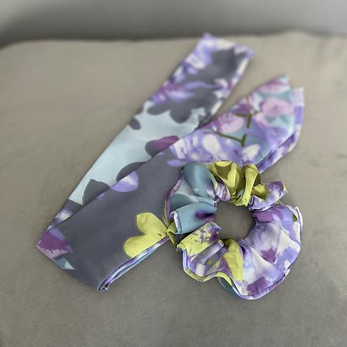 Floral Scrunchie & Hair Scarf Tie Set