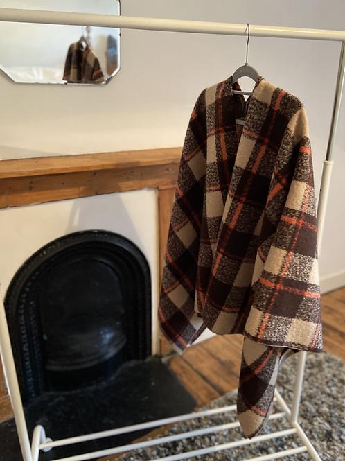 Furry wool blend cape scarf