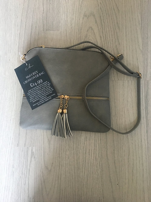 Grey Tassle Crossover Bag