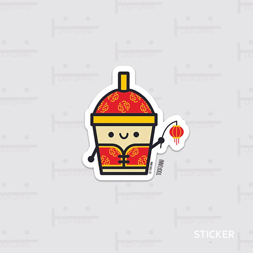 LNY bubble tea w/ lantern - vinyl sticker