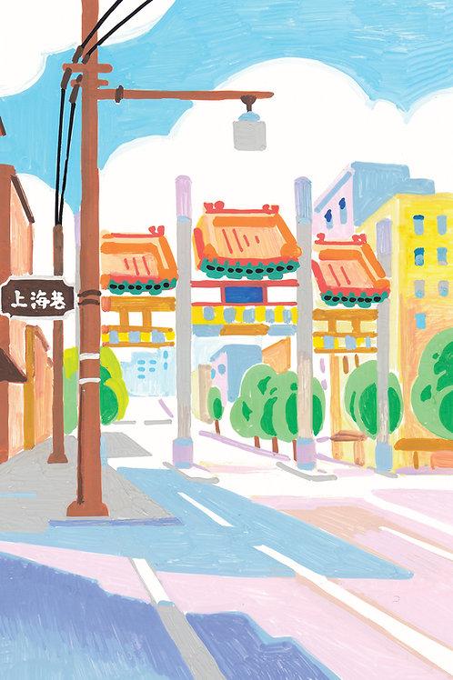 chinatown gate postcard