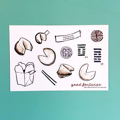 good fortunes sticker sheet