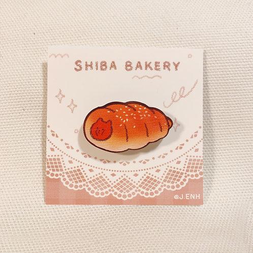 shiba hot dog bun wooden pin