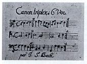 И.С.Бах. Автограф шестиголосного канона