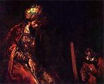 Рембрандт. Давид, играющий на арфе перед Саулом. 1658