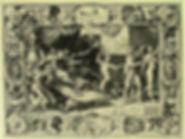 """Гравюра по рисунку Рубенса с сюжетом «""""Клевета"""" Апеллеса»."""