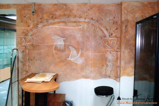 Mural on Stucco - faux paint finish - right side- mural by Tamara Hergert