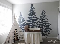 Cedar trees front view - Mural by Tamara Hergert