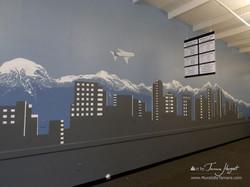 Bellevue - Seattle skyline 7 - Bel-Red Auto license - mural by Tamara Hergert