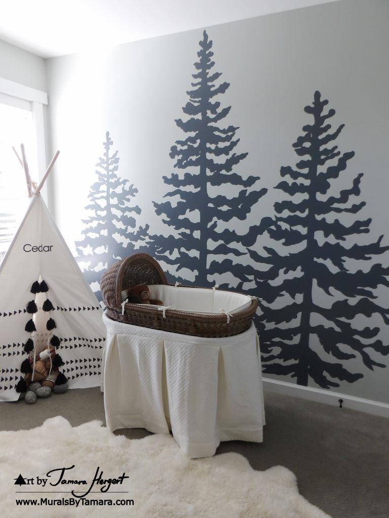 Cedar trees front view 7 - Mural by Tamara Hergert