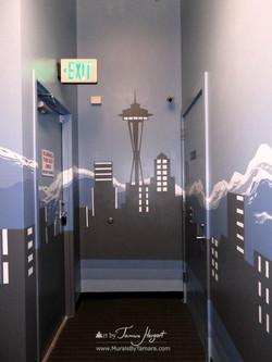 Seattle skyline - Mount Rainier 18 - Bel-Red Auto license - mural by Tamara Hergert