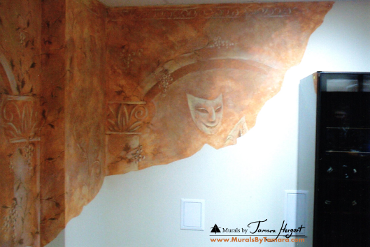 Mural on Stucco - faux paint finish - right side detail - mural by Tamara Hergert