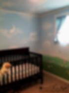 Kid's room, nursery mural, clouds on the ceiling, tree, meadow, moon, clouds shaped as animals, butterflies, flowers, sun, animals - mural by Tamara Hergert - mural artist seattle