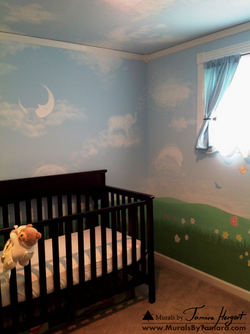 Clouds on the ceiling, tree, and geese - clouds shaped as animals - kids room mural by Tamara Herger