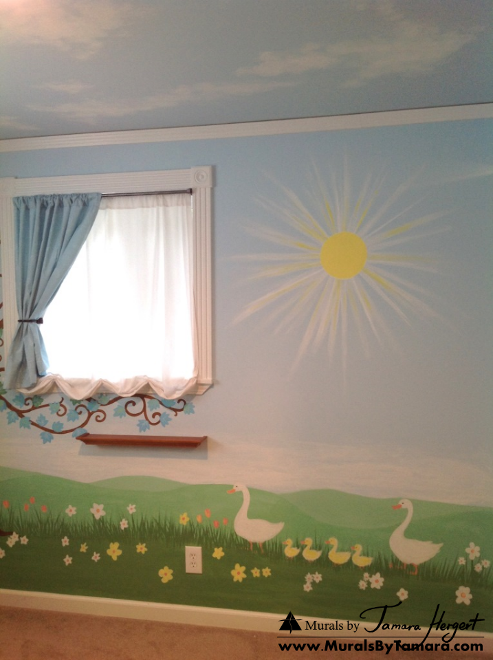 Clouds on the ceiling, tree, and geese - right side - kids room mural by Tamara Hergert