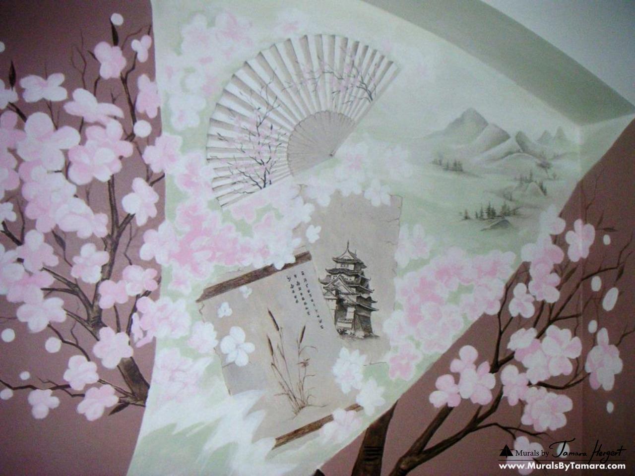 Japanese cherry blossoms detail mural by Tamara Hergert