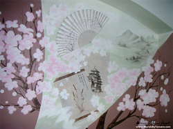 Japanese cherry blossoms detail mural by Tamara Hergert