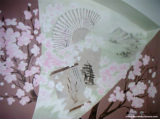 Japanese cherry tree blossoms, ancient scrolls, bamboo, japanese palace, japanese fan, landscape - abstract mural by Tamara Hergert - mural artist seattle
