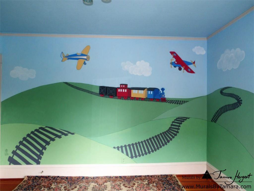 Train and train tracks - Airplanes - Olden toy style - mural by Tamara Hergert - front view