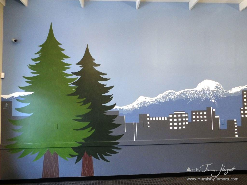Evergreen trees and Bellevue skyline 10 - Bel-Red Auto license - mural by Tamara Hergert