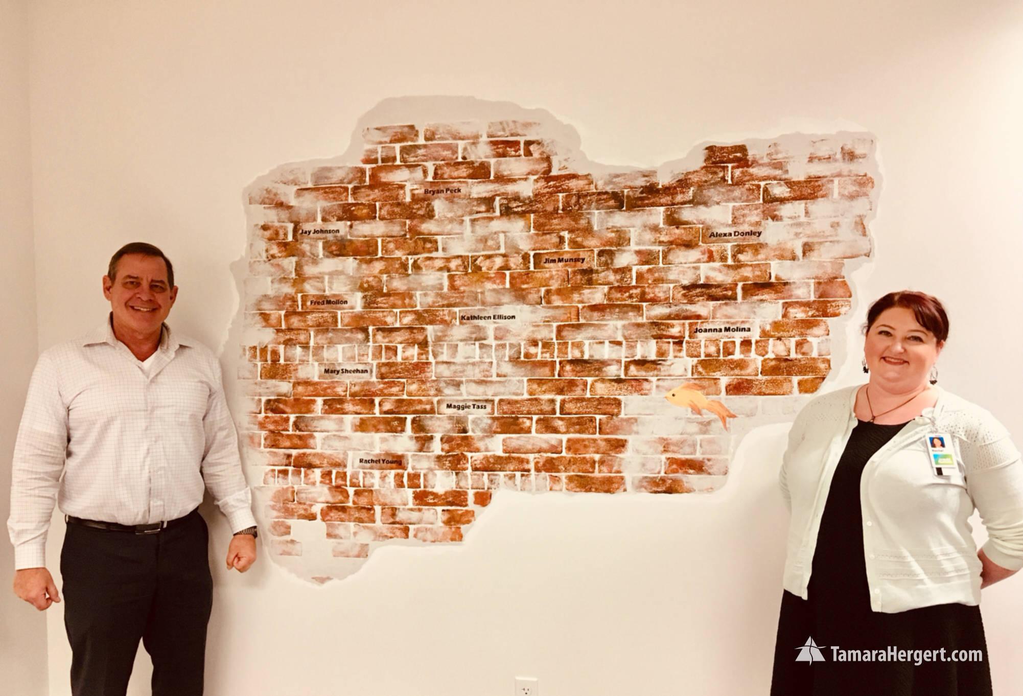Brick wall - faux bricks mural by Tamara
