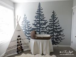 Cedar trees front view 3- Mural by Tamara Hergert