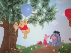 Winnie the Pooh mural - Winnie the Pooh and Piglet detail - kids room mural by Tamara Hergert