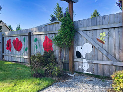 Poppies and daisies on the fence mural b