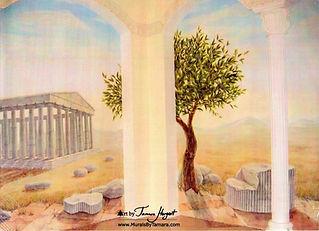 Ancient Greece, Pantheon, Greek ruins, ancient Rome mural by Tamara Hergert - mural artist seattle