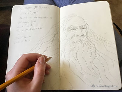 The Mountain book sketch by Tamara Herge