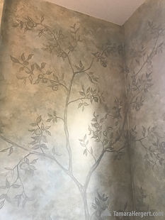 Subtle Apple Trees faux finish mural by