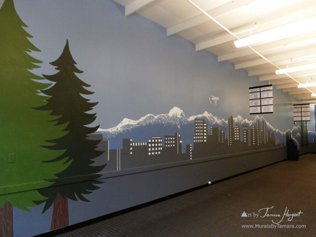 Bellevue - Seattle skyline 6 - Bel-Red Auto license - mural by Tamara Hergert