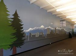 Bellevue - Seattle skyline 6 - Bel-Red Auto license - mural by Tamara Hergert