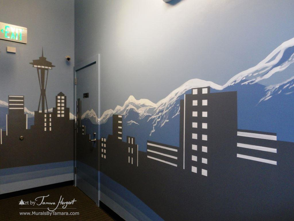 Seattle skyline - Mount Rainier 19 - Bel-Red Auto license - mural by Tamara Hergert