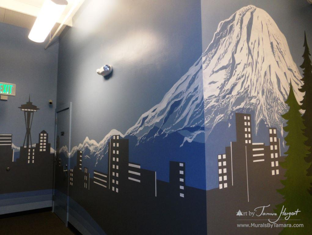 Seattle skyline - Mount Rainier 17 - Bel-Red Auto license - mural by Tamara Hergert