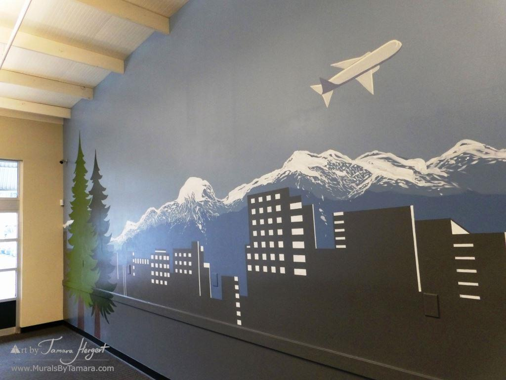 Evergreen trees and Bellevue skyline 7- Bel-Red Auto license - mural by Tamara Hergert
