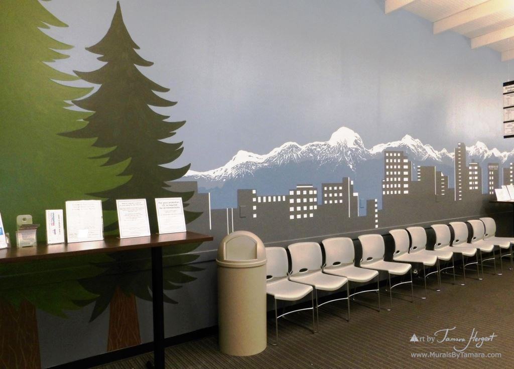 Evergreen trees and Bellevue skyline 3- Bel-Red Auto license - mural by Tamara Hergert