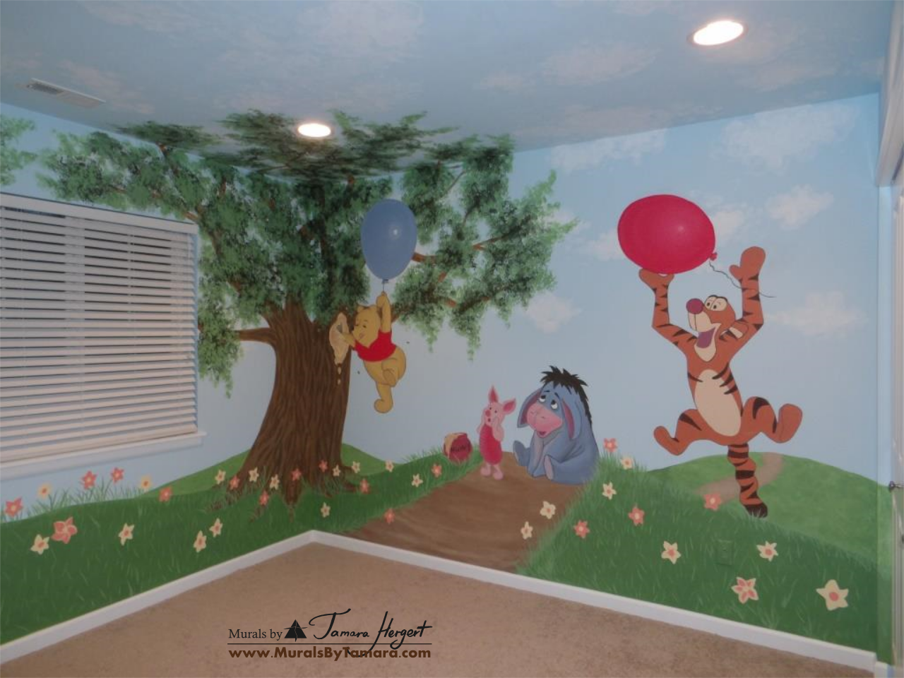 Winnie the Pooh mural right corner - kids room mural by Tamara Hergert