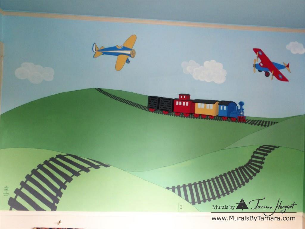 Train and train tracks - Airplanes - Olden toy style - mural by Tamara Hergert - front view close-up