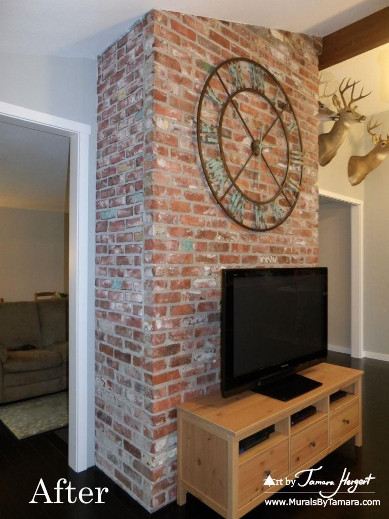 After photo - Faux bricks mural by Tamara Hergert
