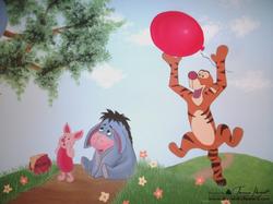 Winnie the Pooh mural - Piglet Eeyore, Tigger detail - kids room mural by Tamara Hergert