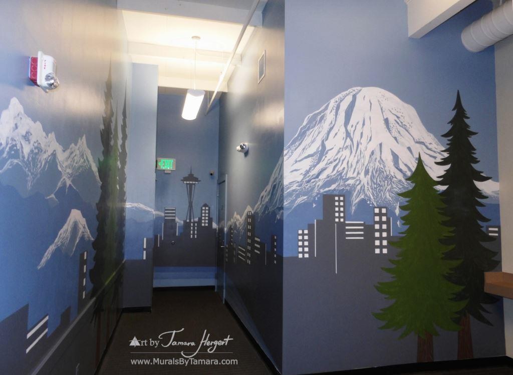 Seattle skyline - Mount Rainier 22 - Bel-Red Auto license - mural by Tamara Hergert