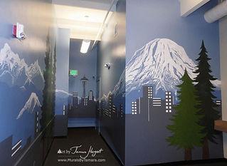 Bellevue - Seattle skyline, citiscape, Mount Rainier, Bel-Red Autolicense office mural by Tamara Hergert - Seattle mural artist