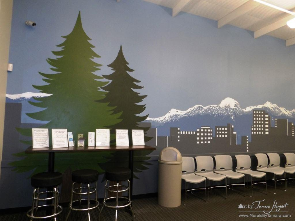 Evergreen trees and Bellevue skyline - Bel-Red Auto license - mural by Tamara Hergert