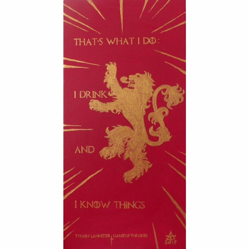"""""""Tyrion Lannister quote and banner"""" acrylic on canvas painting by Tamara"""