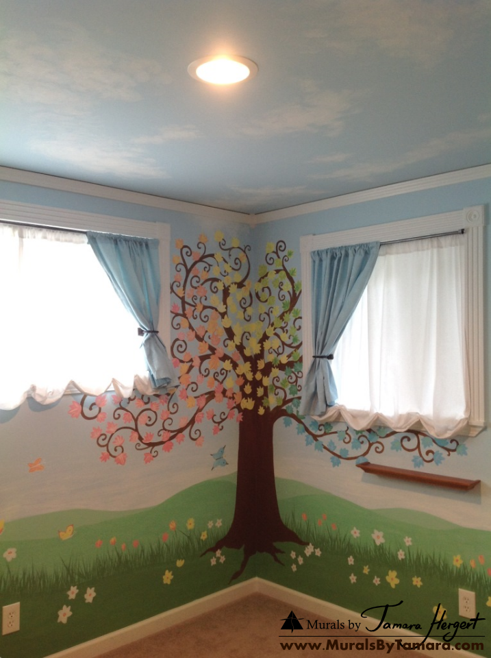 Clouds on the ceiling, tree, and geese - tree in the corner - kids room mural by Tamara Hergert