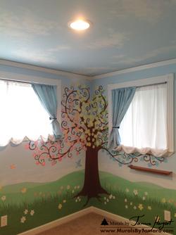 Clouds on the ceiling, tree, and geese - tree in the corner - kids room mural by Tamara Hergert