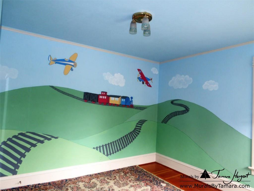 Train and train tracks - Airplanes - Olden toy style - mural by Tamara Hergert - corner view