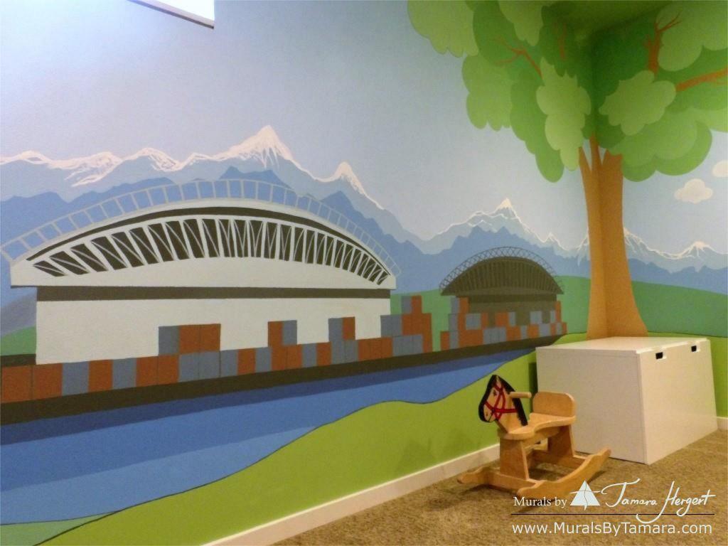 Cascade mountains - Tree in the corner - mural by Tamara Hergert - sports fields
